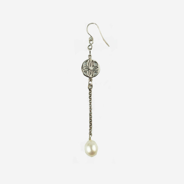 PATTERN & PEARL LONG DROP EARRINGS