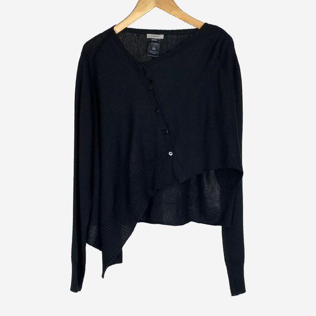 BLACK ASYMMETRICAL CARDIGAN