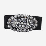 LARGE BLACK CRYSTAL ELASTICATED BELT
