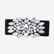 LARGE SILVER CRYSTAL ELASTICATED BELT