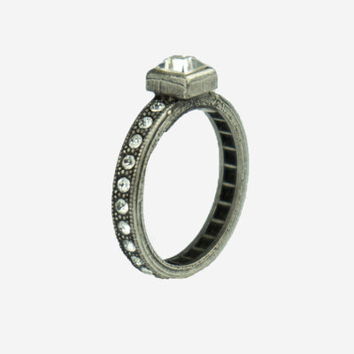 SINGLE STONE DIAMANTE RING - SILVER