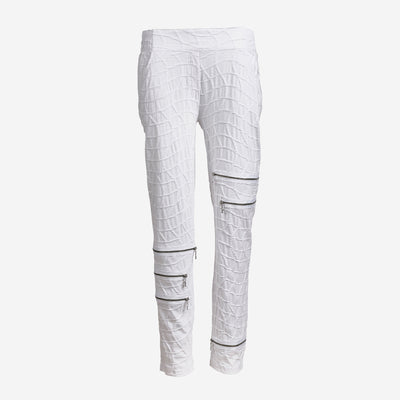 WHITE BUBBLE PANTS WITH ZIP DETAILING