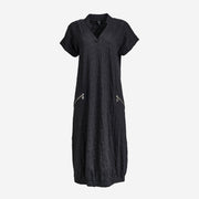 MIDI DRESS WITH MONOCHROME TRIM BLACK PRINT