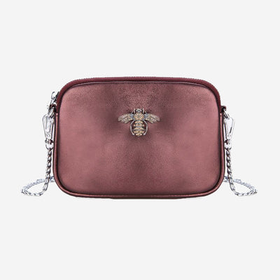 CRYSTAL BEE LEATHER POUCH