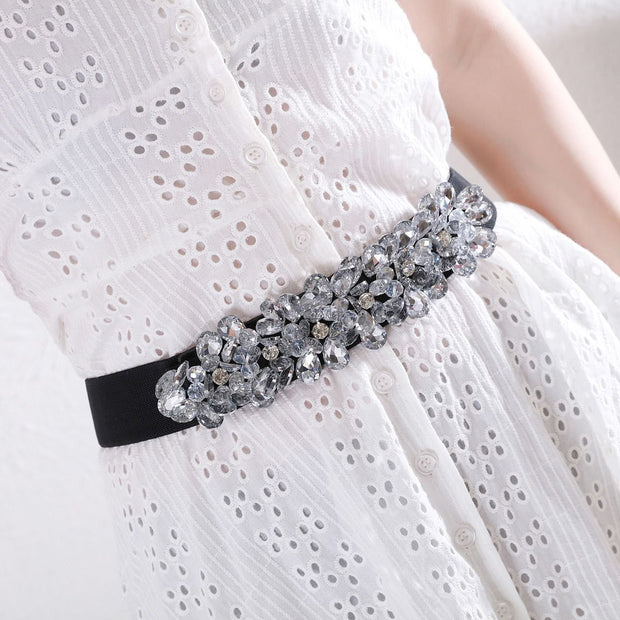 SMALL SILVER CRYSTAL ELASTICATED BELT