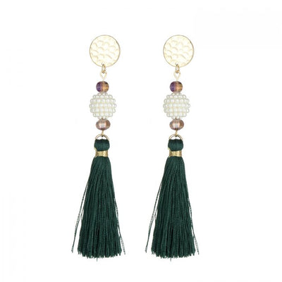 DARK GREEN TASSEL EARRINGS