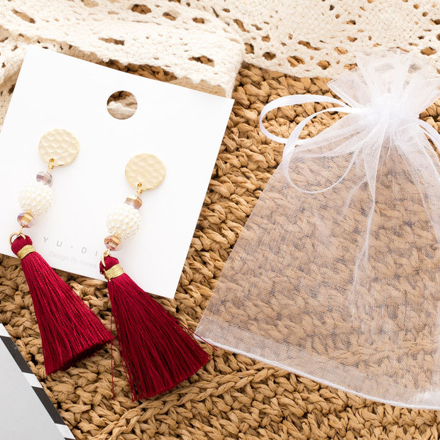 WINE TASSEL EARRINGS