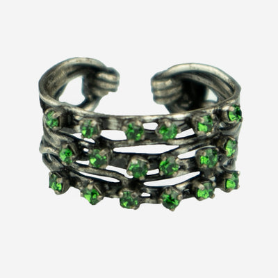 DIAMANTE DRESS RING - EMERALD