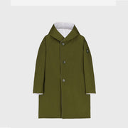 REVERSIBLE RAIN  COAT WITH HOOD - WHITE/OLIVE