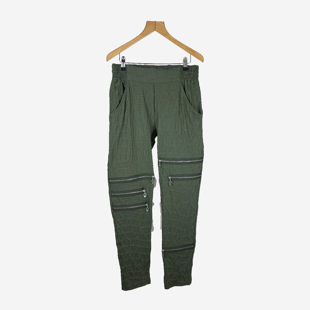 ARMY BUBBLE PANTS WITH ZIP DETAILING