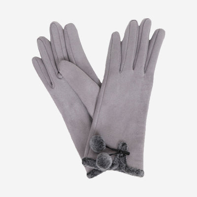 AMELIA FAUX SUEDE GLOVES - PALE GREY