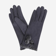 Amelia Faux Suede Gloves - CHARCOAL