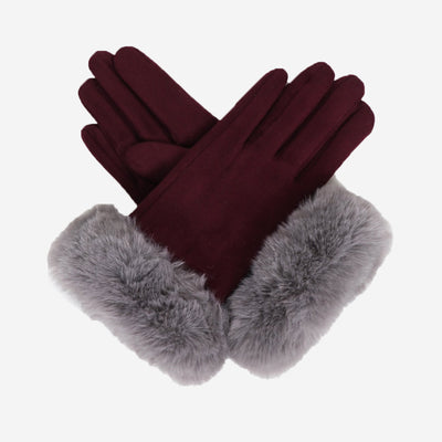 BETTINA FAUX SUEDE GLOVES - DAMSON