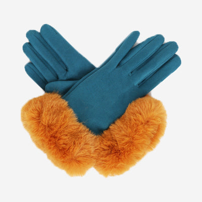BETTINA FAUX SUEDE GLOVES - BLUE