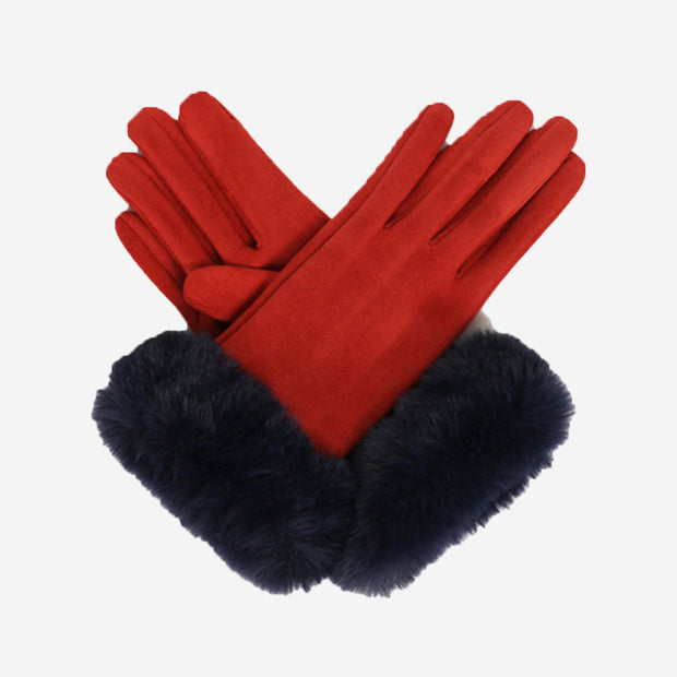 BETTINA FAUX SUEDE GLOVES - RUST