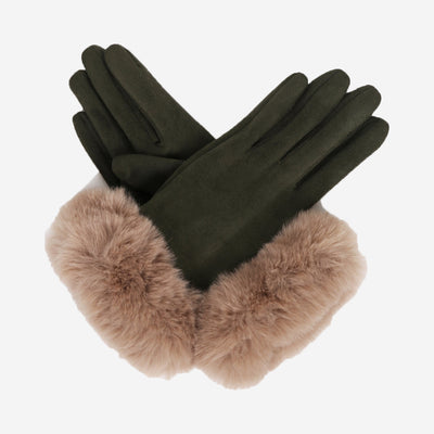 BETTINA FAUX SUEDE GLOVES - GREEN