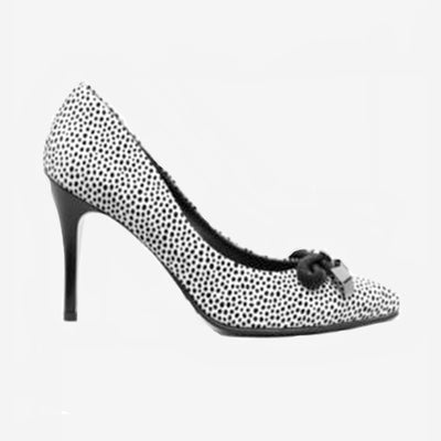 BLACK & WHITE SPOT HIGH HEELS
