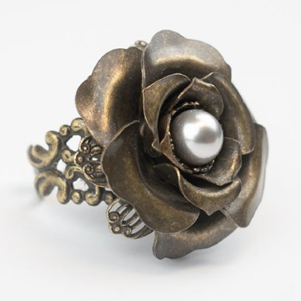 FLOWERCRAFT RING - ANTIQUE BRONZE