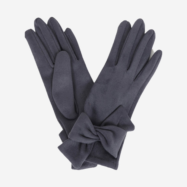 HENRIETTA FAUX SUEDE GLOVES - CHARCOAL