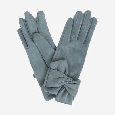 HENRIETTA FAUX SUEDE GLOVES - DENIM
