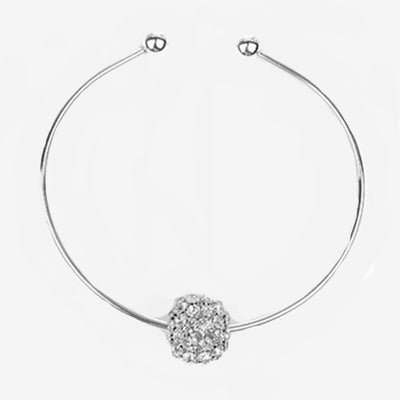 DIAMANTE BALL ON METAL COLLAR