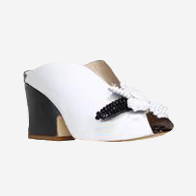 OMID BLACK/WHITE DEMI WEDGE MULE