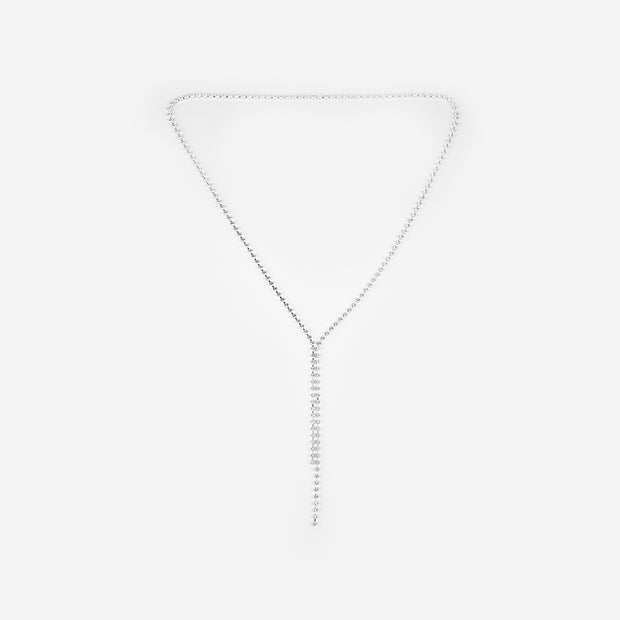 FINE LONG DROP CRYSTAL NECKLACE - SMOKE GREY