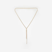 LONG DROP CRYSTAL NECKLACE - ROSE GOLD