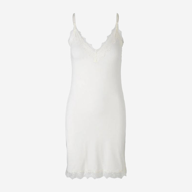 LACE EDGED STRAP DRESS - IVORY