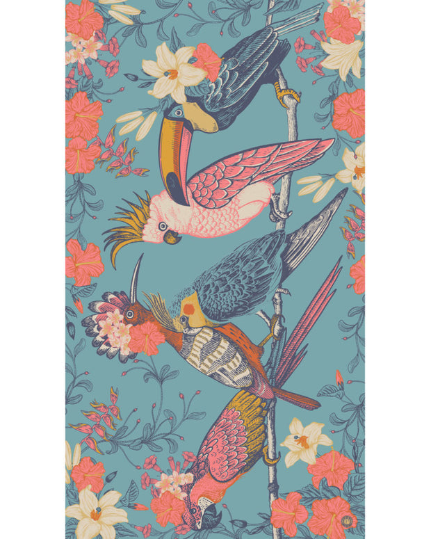 TROPICAL BIRDS PRINTED SCARF