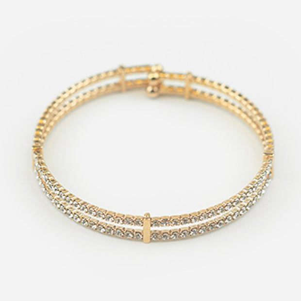 TWIN ROW FINE CRYSTAL CUFF - ROSE GOLD