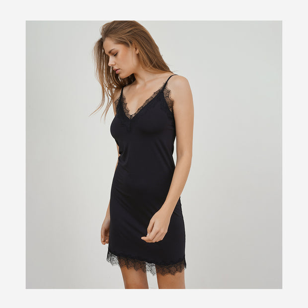 LACE EDGED STRAP DRESS - BLACK