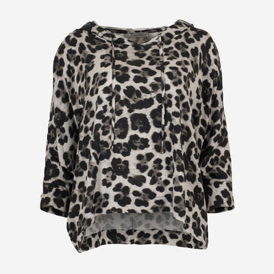NAYA GREY LEOPARD HOODED TOP
