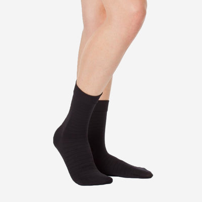 SOCKS PIQUE STRIPE - BLACK