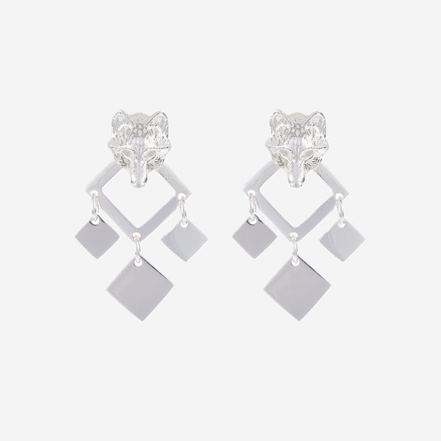 SILVER NIGHT WOLF EARRINGS