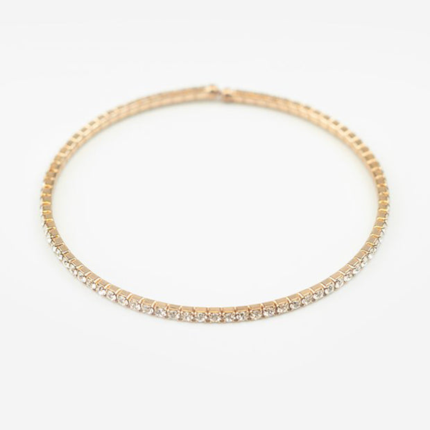 SINGLE ROW CRYSTAL CUFF - GOLD