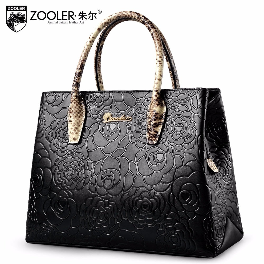 Elegant pattern genuine leather handbag