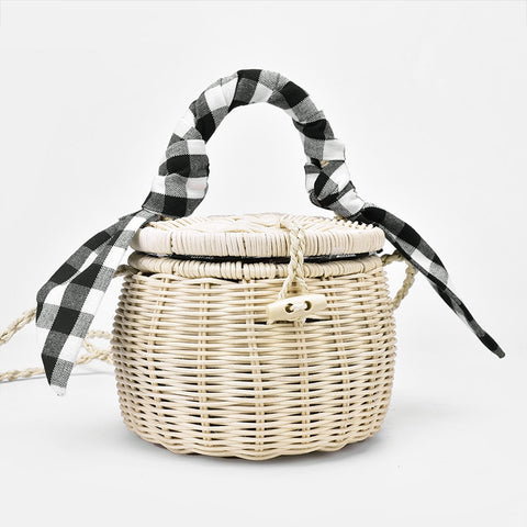 rattan bag handbag lattice silk scarf portable