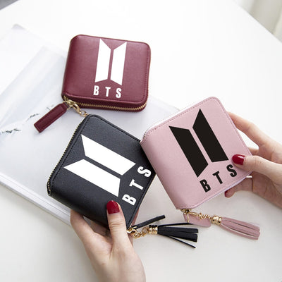 Kpop Style Wallets BTS Short Zipper Card Wallet