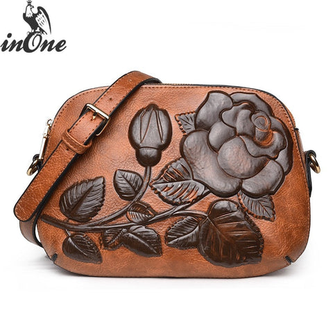 Embossed Rose Flower Vegan Leather Crossbody Shoulder Bags For Women