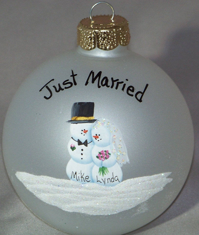 Hand painted Personalized Wedding Ornament