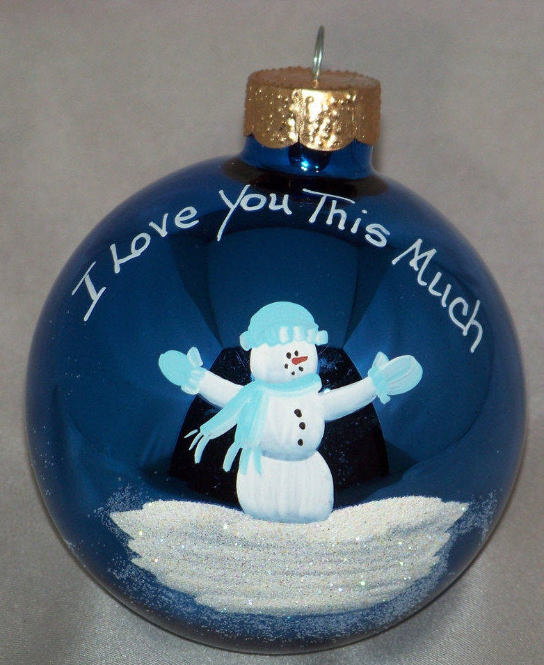 I love you this much personalized hand-painted glass ornament