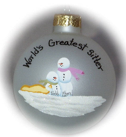 Personalized Babysitter, Bigger Sister, Baby & Mom  Ornament