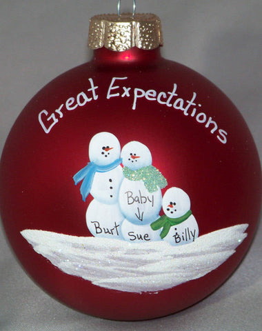 Personalized Expecting Family of Three Christmas Ornament