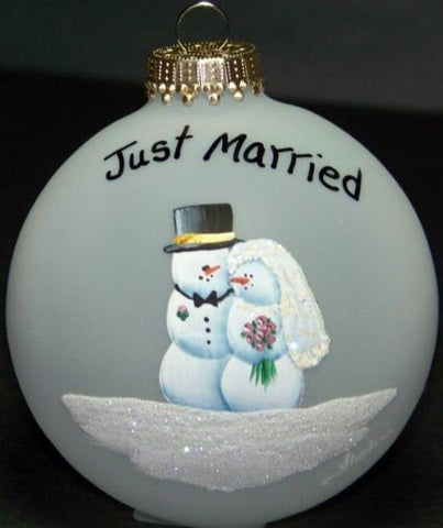 Wedding Gift  Personalized Glass Ornament Just Married