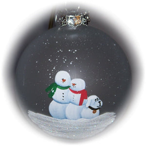 "Our family with a snow dog hand painted on a 3 1/4"" frosted glass ornament."