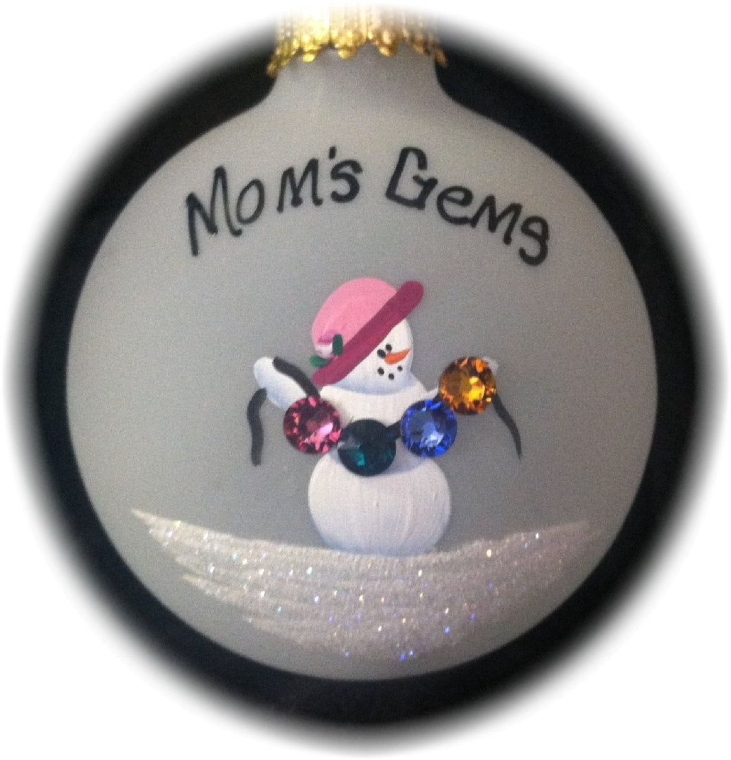 Mom's Gems, Personalized Hand-painted glass ornament with Swarovski Birthstone Crystals, perfect for Mother's Day