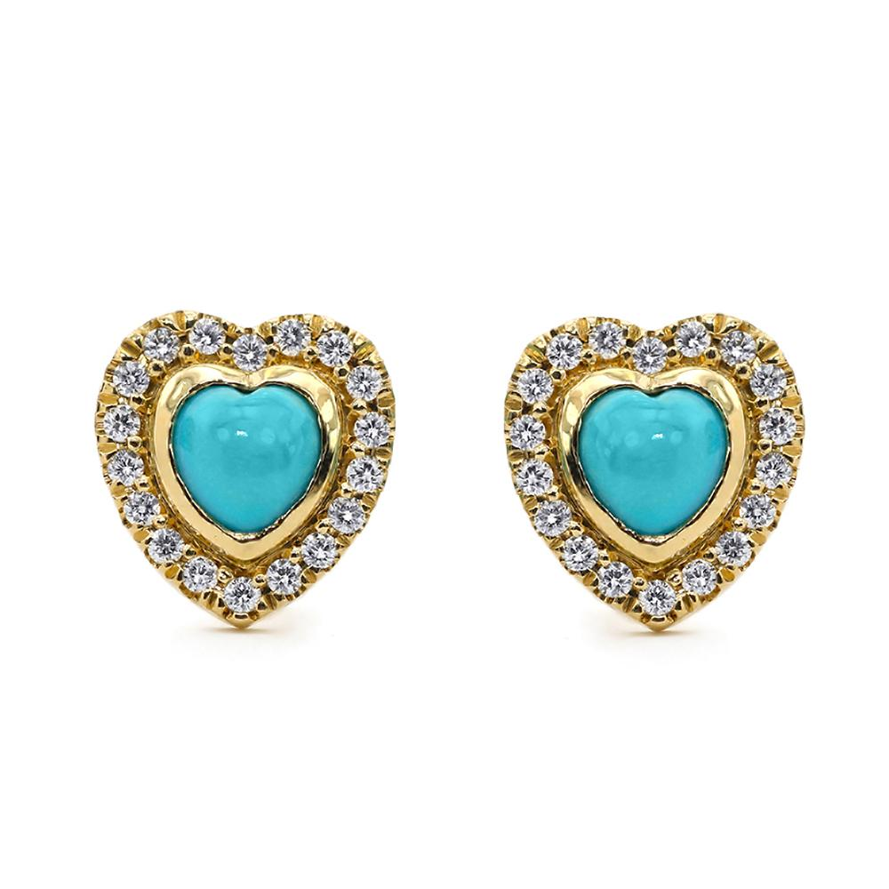 Turquoise Heart and Diamond Earrings