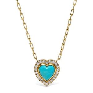Turquoise Heart and Diamond Necklace