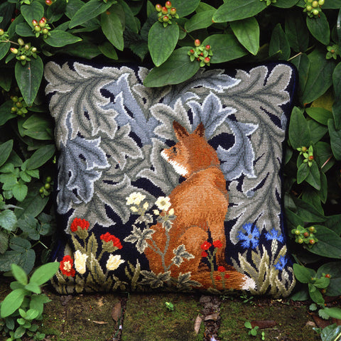 Fox needlepoint kit in the garden